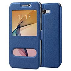 Coque Portefeuille Livre Cuir pour Samsung Galaxy J7 Prime Bleu