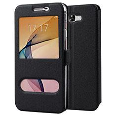 Coque Portefeuille Livre Cuir pour Samsung Galaxy J7 Prime Noir
