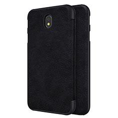 Coque Portefeuille Livre Cuir pour Samsung Galaxy J7 Pro Noir