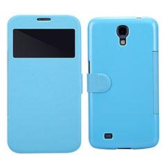 Coque Portefeuille Livre Cuir pour Samsung Galaxy Mega 6.3 i9200 i9205 Bleu