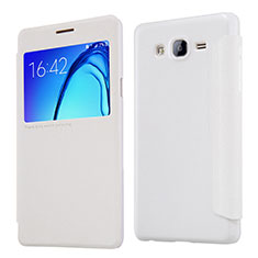 Coque Portefeuille Livre Cuir pour Samsung Galaxy On5 G550FY Blanc