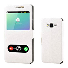 Coque Portefeuille Livre Cuir pour Samsung Galaxy On7 G600FY Blanc
