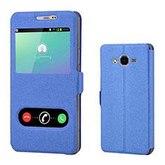 Coque Portefeuille Livre Cuir pour Samsung Galaxy On7 G600FY Bleu