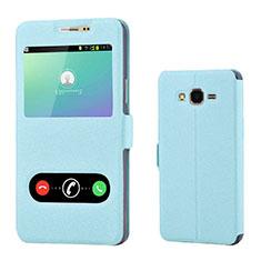 Coque Portefeuille Livre Cuir pour Samsung Galaxy On7 G600FY Bleu Ciel