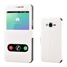 Coque Portefeuille Livre Cuir pour Samsung Galaxy On7 Pro Blanc