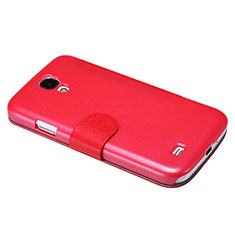 Coque Portefeuille Livre Cuir pour Samsung Galaxy S4 IV Advance i9500 Rouge