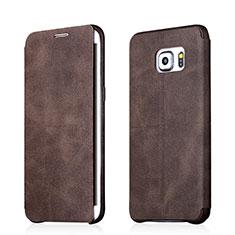 Coque Portefeuille Livre Cuir pour Samsung Galaxy S6 Edge+ Plus SM-G928F Marron
