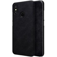 Coque Portefeuille Livre Cuir pour Xiaomi Mi 8 Noir