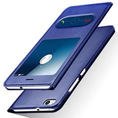 Coque Portefeuille Livre Cuir R01 pour Huawei Honor 8 Lite Bleu
