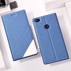 Coque Portefeuille Livre Cuir R01 pour Huawei P8 Lite (2017) Bleu
