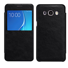 Coque Portefeuille Livre Cuir S01 pour Samsung Galaxy J7 (2016) J710F J710FN Noir