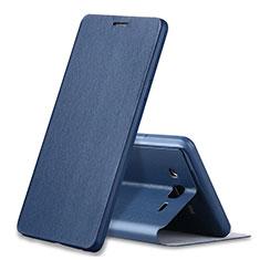 Coque Portefeuille Livre Cuir S01 pour Samsung Galaxy On7 Pro Bleu