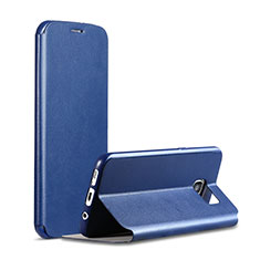 Coque Portefeuille Livre Cuir S01 pour Samsung Galaxy S7 G930F G930FD Bleu