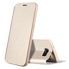 Coque Portefeuille Livre Cuir S01 pour Samsung Galaxy S7 G930F G930FD Or