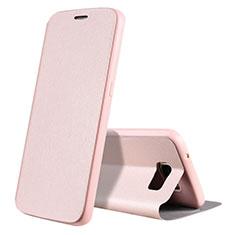 Coque Portefeuille Livre Cuir S01 pour Samsung Galaxy S7 G930F G930FD Or Rose