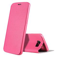 Coque Portefeuille Livre Cuir S01 pour Samsung Galaxy S7 G930F G930FD Rose Rouge
