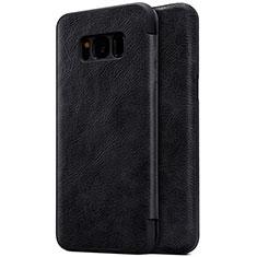 Coque Portefeuille Livre Cuir S01 pour Samsung Galaxy S8 Plus Noir