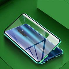 Coque Rebord Bumper Luxe Aluminum Metal Miroir 360 Degres Housse Etui Aimant C01 pour Oppo Reno2 Vert