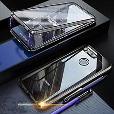 Coque Rebord Bumper Luxe Aluminum Metal Miroir 360 Degres Housse Etui Aimant K01 pour Huawei Honor View 20 Noir