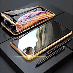 Coque Rebord Bumper Luxe Aluminum Metal Miroir 360 Degres Housse Etui Aimant M01 pour Apple iPhone 11 Pro Max Or
