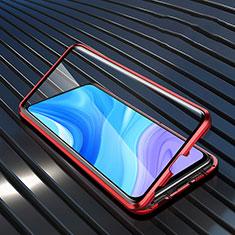 Coque Rebord Bumper Luxe Aluminum Metal Miroir 360 Degres Housse Etui Aimant M01 pour Huawei Enjoy 10 Plus Rouge