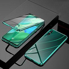 Coque Rebord Bumper Luxe Aluminum Metal Miroir 360 Degres Housse Etui Aimant M01 pour Huawei Enjoy 10e Vert