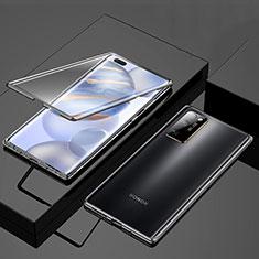 Coque Rebord Bumper Luxe Aluminum Metal Miroir 360 Degres Housse Etui Aimant M01 pour Huawei Honor 30 Pro Noir