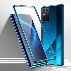 Coque Rebord Bumper Luxe Aluminum Metal Miroir 360 Degres Housse Etui Aimant M01 pour Huawei Honor X10 Max 5G Bleu