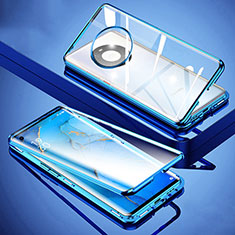 Coque Rebord Bumper Luxe Aluminum Metal Miroir 360 Degres Housse Etui Aimant M01 pour Huawei Mate 40 Bleu