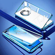 Coque Rebord Bumper Luxe Aluminum Metal Miroir 360 Degres Housse Etui Aimant M01 pour Huawei Mate 40 Pro+ Plus Bleu