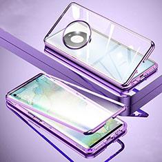 Coque Rebord Bumper Luxe Aluminum Metal Miroir 360 Degres Housse Etui Aimant M01 pour Huawei Mate 40 Violet