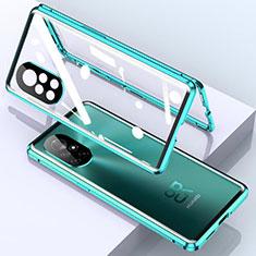 Coque Rebord Bumper Luxe Aluminum Metal Miroir 360 Degres Housse Etui Aimant M01 pour Huawei Nova 8 Pro 5G Cyan