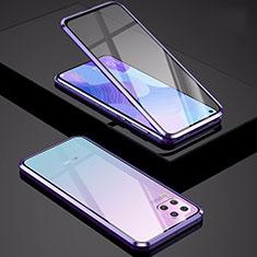 Coque Rebord Bumper Luxe Aluminum Metal Miroir 360 Degres Housse Etui Aimant M01 pour Huawei P40 Lite Violet