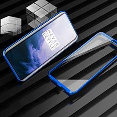 Coque Rebord Bumper Luxe Aluminum Metal Miroir 360 Degres Housse Etui Aimant M01 pour OnePlus 7T Pro Bleu