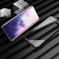 Coque Rebord Bumper Luxe Aluminum Metal Miroir 360 Degres Housse Etui Aimant M01 pour OnePlus 7T Pro Noir