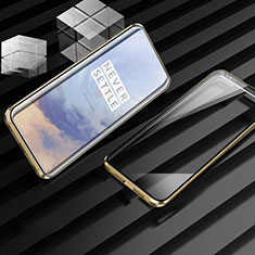 Coque Rebord Bumper Luxe Aluminum Metal Miroir 360 Degres Housse Etui Aimant M01 pour OnePlus 7T Pro Or