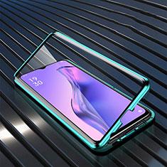 Coque Rebord Bumper Luxe Aluminum Metal Miroir 360 Degres Housse Etui Aimant M01 pour Oppo A8 Vert