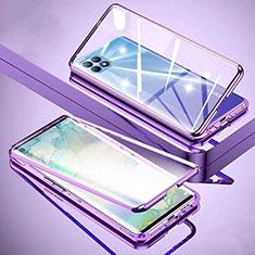 Coque Rebord Bumper Luxe Aluminum Metal Miroir 360 Degres Housse Etui Aimant M01 pour Oppo Reno4 SE 5G Violet