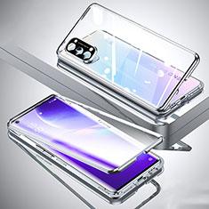Coque Rebord Bumper Luxe Aluminum Metal Miroir 360 Degres Housse Etui Aimant M01 pour Oppo Reno5 Pro 5G Argent