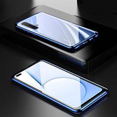 Coque Rebord Bumper Luxe Aluminum Metal Miroir 360 Degres Housse Etui Aimant M01 pour Realme X50m 5G Bleu