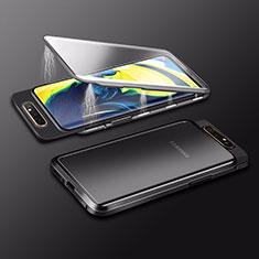 Coque Rebord Bumper Luxe Aluminum Metal Miroir 360 Degres Housse Etui Aimant M01 pour Samsung Galaxy A80 Noir