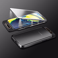 Coque Rebord Bumper Luxe Aluminum Metal Miroir 360 Degres Housse Etui Aimant M01 pour Samsung Galaxy A90 4G Noir
