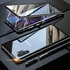Coque Rebord Bumper Luxe Aluminum Metal Miroir 360 Degres Housse Etui Aimant M01 pour Samsung Galaxy Note 10 Plus Noir