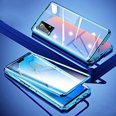Coque Rebord Bumper Luxe Aluminum Metal Miroir 360 Degres Housse Etui Aimant M01 pour Vivo V20 Pro 5G Bleu