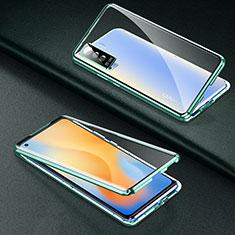 Coque Rebord Bumper Luxe Aluminum Metal Miroir 360 Degres Housse Etui Aimant M01 pour Vivo X50 5G Vert