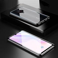 Coque Rebord Bumper Luxe Aluminum Metal Miroir 360 Degres Housse Etui Aimant M01 pour Vivo X50 Lite Noir