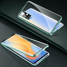 Coque Rebord Bumper Luxe Aluminum Metal Miroir 360 Degres Housse Etui Aimant M01 pour Vivo X50 Pro 5G Vert