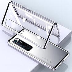 Coque Rebord Bumper Luxe Aluminum Metal Miroir 360 Degres Housse Etui Aimant M01 pour Xiaomi Mi 10 Ultra Argent