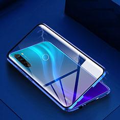 Coque Rebord Bumper Luxe Aluminum Metal Miroir 360 Degres Housse Etui Aimant M01 pour Xiaomi Redmi Note 8 Bleu