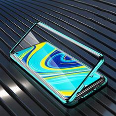 Coque Rebord Bumper Luxe Aluminum Metal Miroir 360 Degres Housse Etui Aimant M01 pour Xiaomi Redmi Note 9 Vert